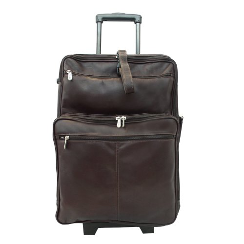 Piel Leather 22 Inch Wheeled Traveler, Chocolate, One Size ()