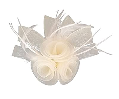 Women Fascinator Hair Clip Headband Feather Flower Cocktail Tea Party Headwear