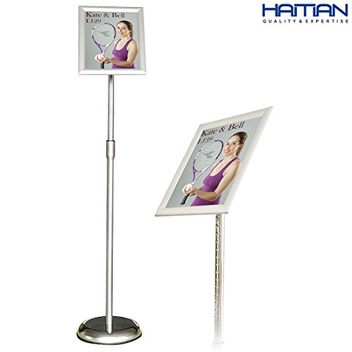 Floor Stand Sign (Adjustable Steel Poster Stand, Graphic Size 8.5 X 11 Inches, Color Silver)