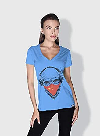 Creo China Skull T-Shirts For Women - S, Blue