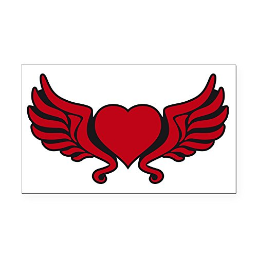 CafePress - Heart Wings Tribal Floral cro Rectangle Car Magnet - Rectangle Car Magnet, Magnetic Bumper Sticker