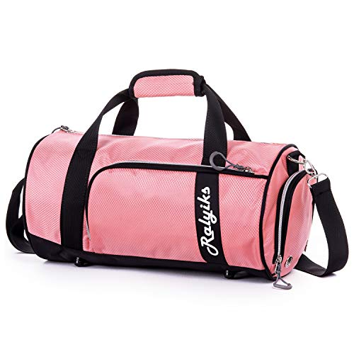 Waterproof Sports Gym Bag with Shoes Compartment Travel Duffel Bag (Sweet Pink, Small)