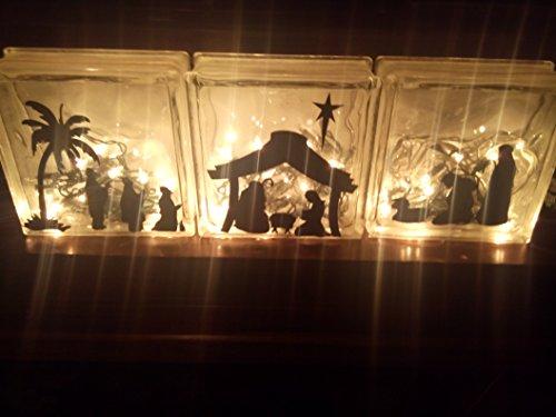 Christmas Glass Blocks - Walls with Style Nativity Scene for Walls or Glass Blocks Christmas Vinyl Decor, (Black)