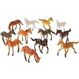 """2 Dozen (24) Mini Plastic HORSE Figures 2.5"""" TOYS Birthday PARTY FAVORS Prizes PONY - CUPCAKE Toppers Teacher Rewards"""