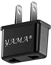 YAMA 1-Pack American (Flat) USA US to European (Round) Russia France Germany Adapter, Power Converter Travel Adapter, Outlet Plug Adapter(Black)