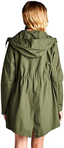Review ToBeInStyle Women's Drawsting Waist Hooded Utility Jacket – Olive – Small