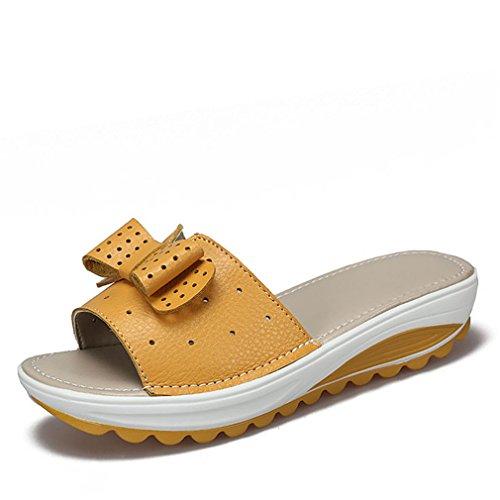 Pour Sandales Cuir Plage Shoe Diapositives Summer forme De Chaussures Tongs Vache Appartements Femme Lady Cales Femmes Yellow Plate rrqdCxwf