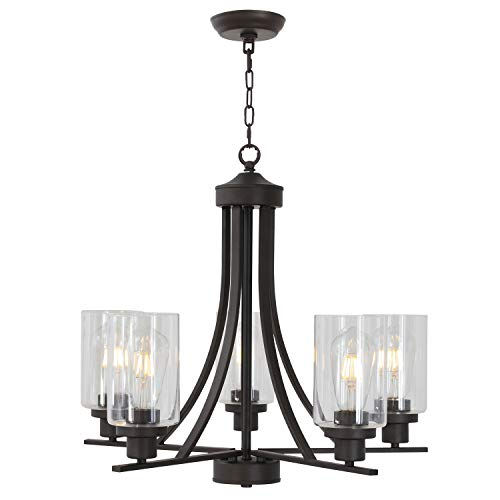 BONLICHT Rustic Kitchen Island Chandelier Lighting 5 Light Oil-Rubbed Bronze Traditional Chandelier Industrial Vintage Lighting Fixtures Hanging Pendant Lights Classic Glass Ceiling Lighting UL Listed