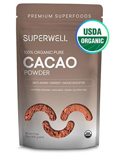 SUPERWELL Organic Cacao Powder - Cocoa Powder (15 Oz / 85 Servings) | Sugar Free | All Natural | Low Carb - Keto Chocolate | Premium Superfood | Anti-Aging
