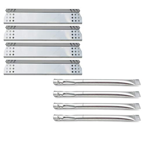 Direct Store Parts Kit DG143 Replacement Sunbeam,Nexgrill,Grill Master 720-0697 Gas Grill Burners,Heat Plates (Stainless Steel Burner + Stainless Steel Heat Plate)