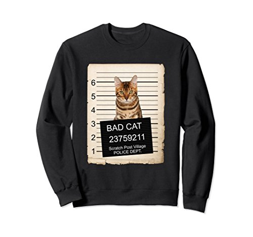 Unisex Bengal Cat mug shot bad Cat Sweatshirt Large Black