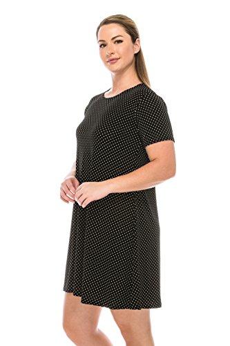 Stretchy Print Sleeve Jostar Missy Short Dress Black W990 Women's gwYFw5