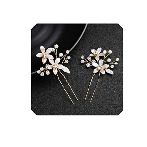 Bride by hand hairpin headdress one pair of pins mounted painted leaves Flowers diamond bridal headdress wedding dress