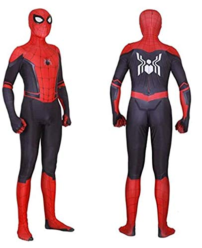Unisex Lycra Spandex Halloween New into The Spider Verse Miles Morales Cosplay Costumes Adult/Kids 3D Style]()