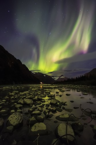 Aurora Borealis (Northern Lights) over the Portage River looking South back towards Portage Tunnel Portage Alaska United States of America Poster Print by Ed Boudreau Design Pics (11 x - Alaska Borealis Aurora
