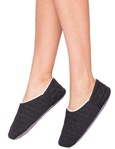 Slipper Noble Lining Mount Shearling Quilted hearts Women's Black With aPqOI7