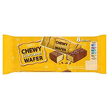 Tesco Chewy Caramel Wafer Biscuit 8pk 224g Amazoncouk