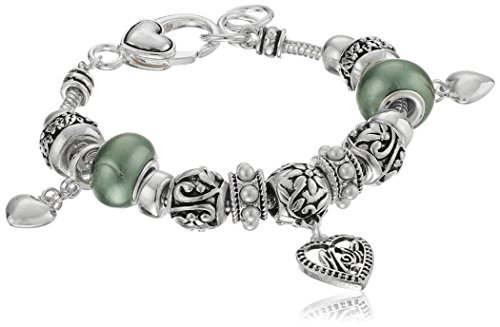 Green Pearlized Beads and Silver Tone Metal Drops Mom Charm Bracelet (Silver Bracelets Serpentine)