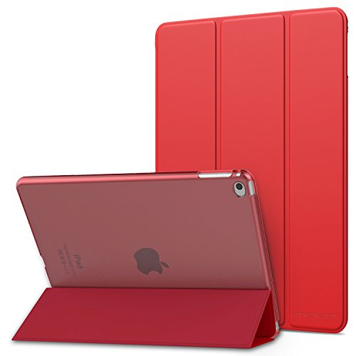 MoKo Case Fit iPad Air 2 - Slim Lightweight Smart Shell Stand Cover with Translucent Frosted Back Protector Fit Apple iPad Air 2 9.7 Tablet, RED (with Auto Wake/Sleep, Not fit iPad Air)