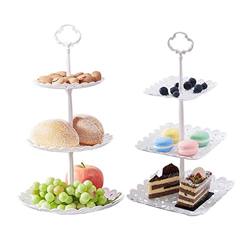 2 Set of 3-Tier Cake Stand and Fruit Plate Cupcake Plastic Stand White for Cakes Desserts Fruits Candy Buffet Stand for Wedding & Home & Birthday Party Serving (Diameter Ring Pull)