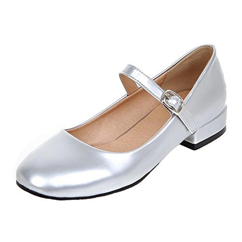 TAOFFEN Women Western Thick Low Heel Square Toe Mary Jane Court Shoes Silver