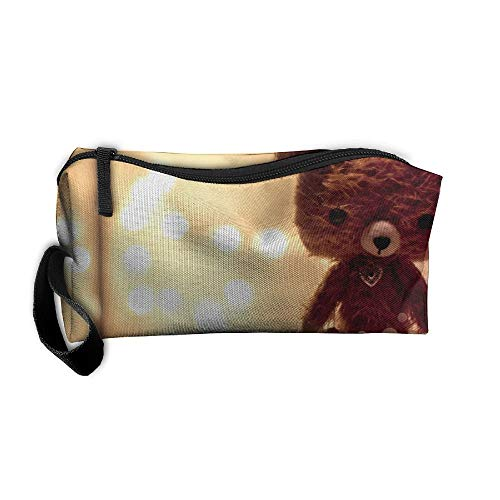 Cosmetic Bags With Zipper Makeup Bag Teddy Bears Toy Middle Wallet Hangbag Wristlet Holder ()