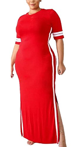 Maxi Casuale O Rosso A Manica Vestito Righe Jaycargogo collo Corta Moda Donne nTqw0a1Ig