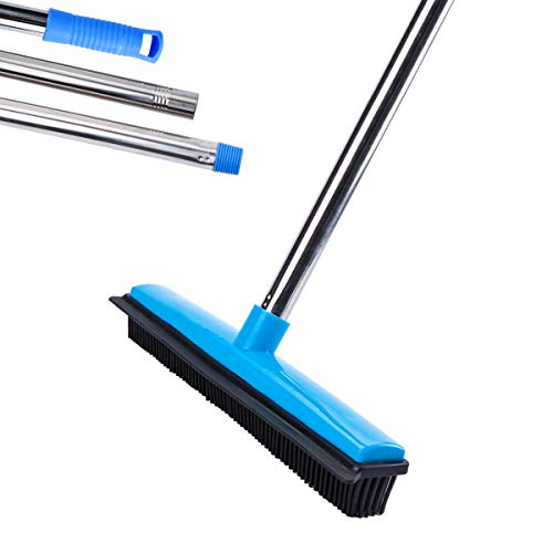"MEIBEI Push Broom, Soft Bristle Rubber Broom with Adjustable Long Handle - 53"", Carpet Sweeper with Squeegee, Removing Pet Cat Dog Hair on the Carpet, Sturdy and Durable"