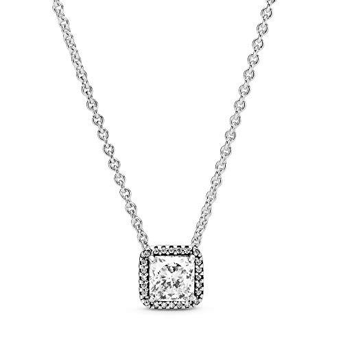 45 Cm Necklace - Pandora Jewelry - Square Sparkle Halo Necklace in Sterling Silver with Clear Cubic Zirconia, 17.7 IN / 45 CM