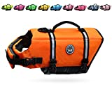 Vivaglory Ripstop Dog Life Jackets, Reflective & Adjustable Dog Life Vests for Swimming Boating & Canoeing, Bright Orange, Extra Small