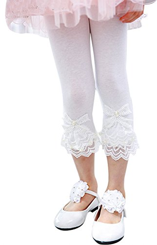 Girls Summer Basic Leggings Pants with Lace Flower Trim, White 2T