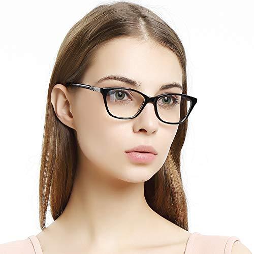 OCCI CHIARI Women Casual Eyewear Frames Non-Prescription Clear Lens Eyeglasses (Black_50)