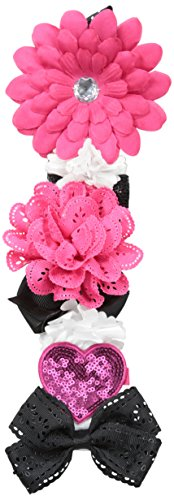 Toby & Company Girls' Grosgrain Ribbon Clip Holder Girly Tuxedo Color Set, Pink/White/Black, One Size
