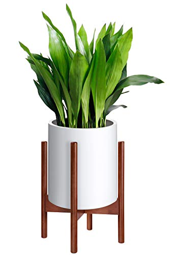 MoonLa Plant Stand Mid Century Wood Flower Pot Holder Display Potted Plant Holder Rack Rustic Planter Stand Up to 10 Inch (Plant and Pot NOT Included), Brown ()