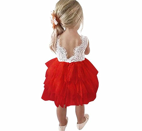 Toddler Baby Flower Girls Princess Tulle Dress Lace Backless Tutu A-line Beaded Party Dresses Red -