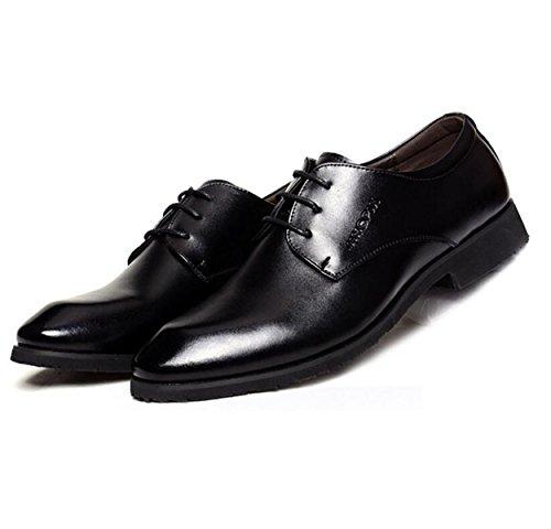 GRRONG Chaussures En Cuir Pour Hommes Loisirs Robe Formelle Noir Pointu Black xOFL4n