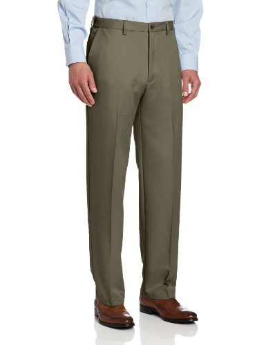 Haggar Men's Big-Tall Cool Gabardine Plain Front Pant, Taupe, 46x32 by Haggar