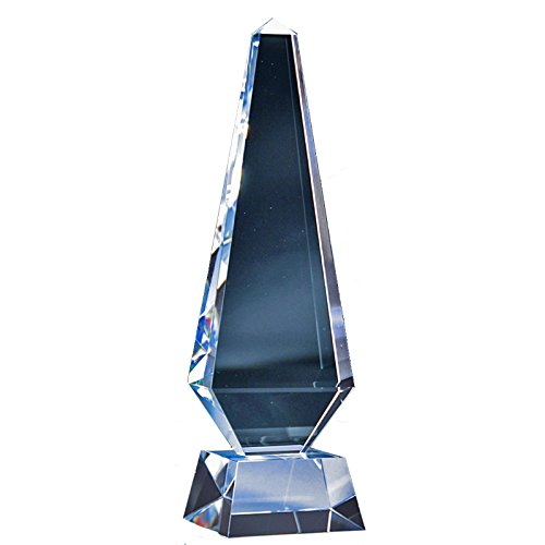 - Customizable 11 Inch Optical Crystal Obelisk Award, includes Personalization