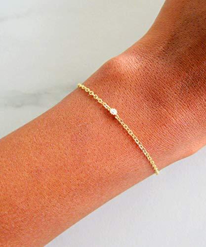 Tennis Gemstone Bracelets Gold (14k gold filled dainty cubic zirconia diamond adjustable bracelet for women, 7