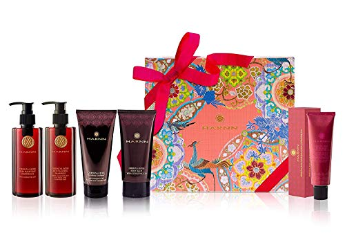 HARNN Beauty Gift Set (Oriental Rose) for Christmas, Valentines Day, Mothers Day - Skin Purifying Shower Gel, Revitalizing Shampoo, Revitalizing Conditioner, Body Lotion, and Moisturizing Hand Cream