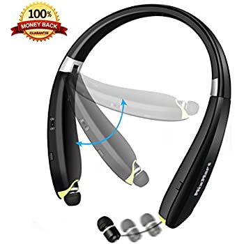 Bluetooth Headset, MixMart V4.1 Bluetooth Headphones Wireless Neckband Foldable Bluetooth Headset Sweatproof Earphones