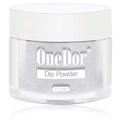 (OneDor Nail Dip Dipping Powder - Acrylic Color Pigment Powders Pro Collection System, 1 Oz. (R3939 - Silver Glitter))