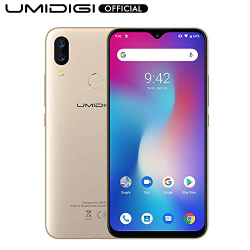UMIDIGI Power Unlocked Cell Phones 64GB+4GB RAM 5150mAh Battery 18W Fast Charging 6.3' FHD+ Screen Global Version 16MP+5MP Dual Camera LTE Smartphone - 1 Year US Warranty(Gold)