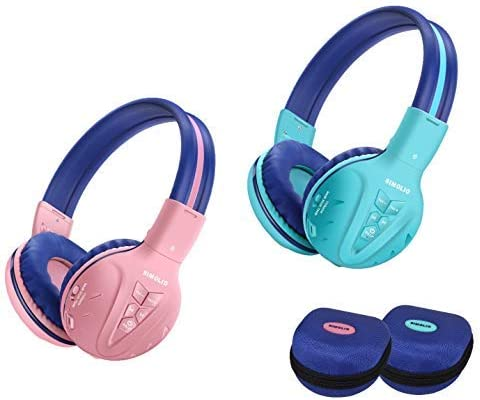 2 Pack of SIMOLIO Wireless Bluetooth Kids Headphone with Hard Case,Wireless Kids Safe Headphone Volume Limited, Wireless Headphones for Girls,Boys,Over-Ear Kids Headphone for School,Travel Mint,Pink