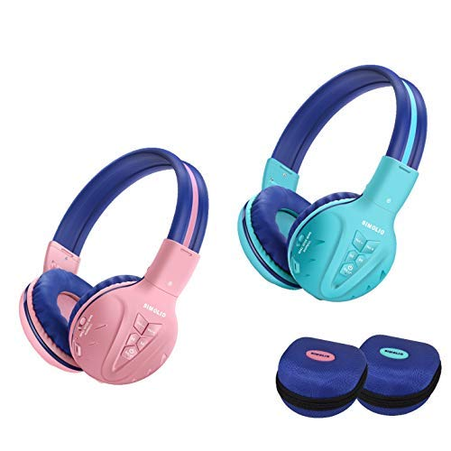 2 Pack of SIMOLIO Wireless Bluetooth Kids Headphone with Hard Case,Wireless Kids Safe Headphone Volume Limited, Wireless Headphones for Girls,Boys,Over-Ear Kids Headphone for School,Travel (Mint,Pink)