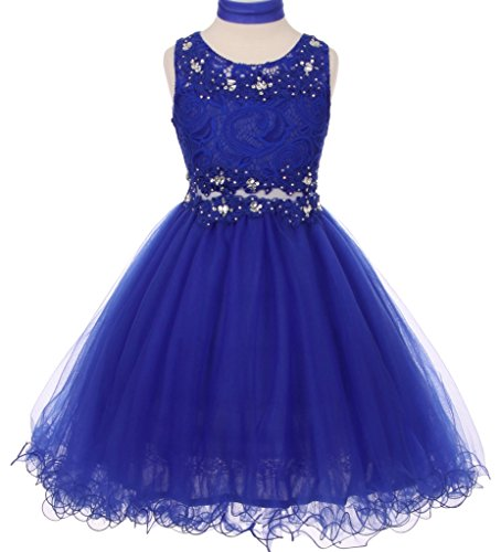BNY Corner Lace Embroidered Design See Through Waistline Flower Girls Dresses Big Girl Royal 8 CC 5010