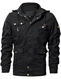 Men's Cotton Military Jackets Casual Coat Outdoor Windbreaker Jacket with Removable Hood