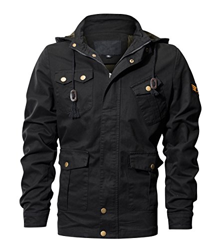 WULFUL Men's Cotton Military Jackets Casual Coat Outdoor Windbreaker Jacket with Removable Hood Black M by WULFUL
