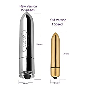 Vibrator, Oomph! Upgraded Bullet Shape Waterproof 16 Speed Vibration G-spot Massager Sex Toy for Women (silver) …