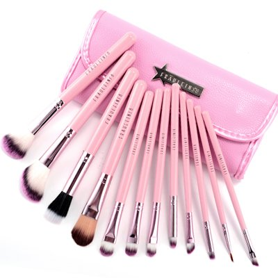 12 Candy Pink Cosmetic Make Up Brush Applicator Set W/Case
